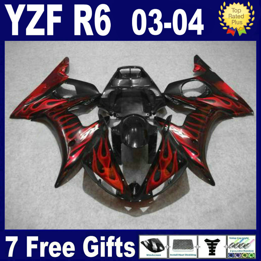 Customize free Race Road motorcycle fairing kits For Yamaha YZF R6 2003 2004 2005 plastics YZFR6  04 03 red flame fairings bodyk road race motorcycle fairings kit for yamaha r6 2003 2004 2005 yzf r6 03 04 05 black silver fairing kits bodywork part