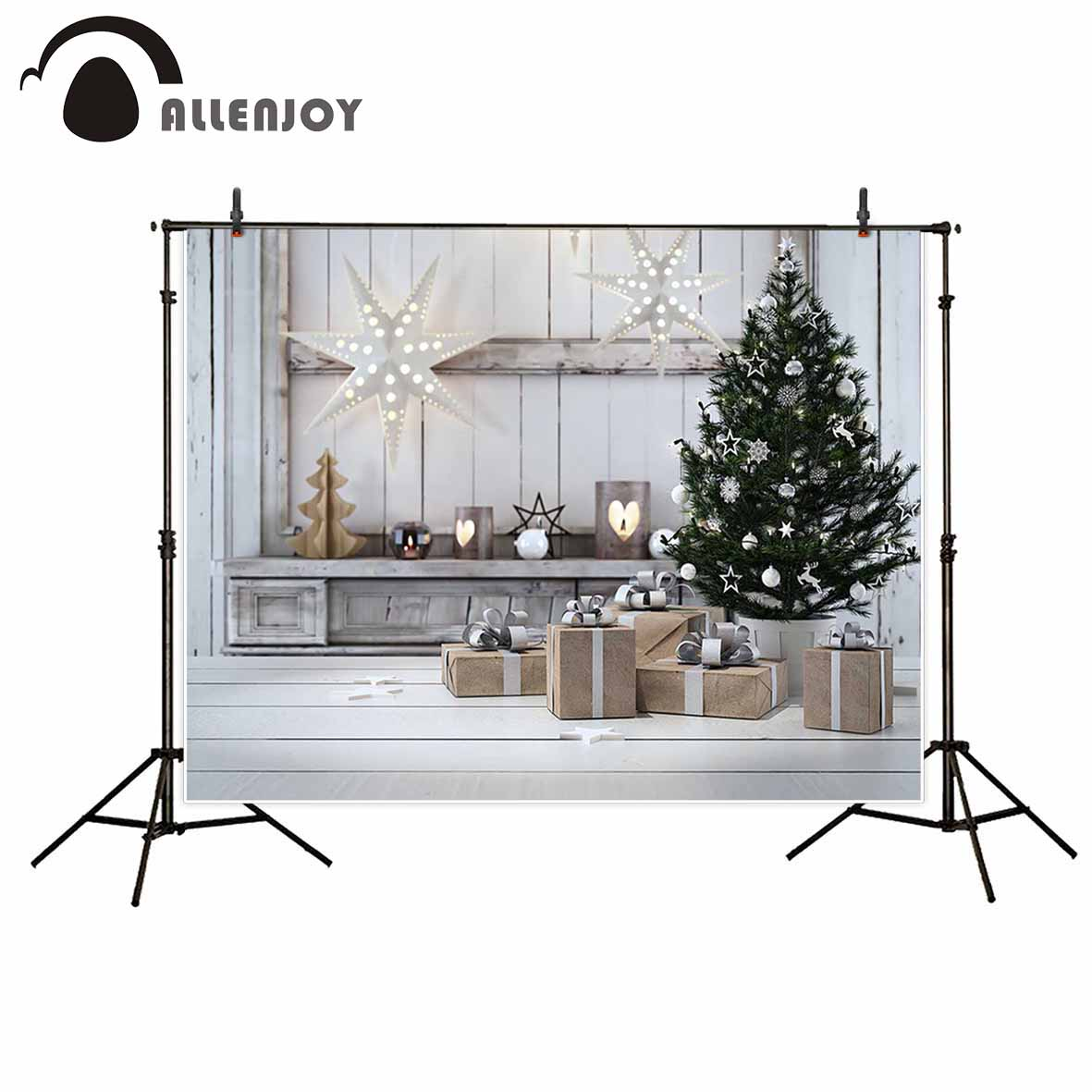 Allenjoy photographic background White Wooden Star Light Christmas Tree Gift Photographic background for study Photo background