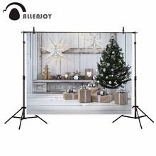 Allenjoy фотографический фон белый деревянные свет звезды Рождество дерево подарок фотографическое фон для изучения фото фон