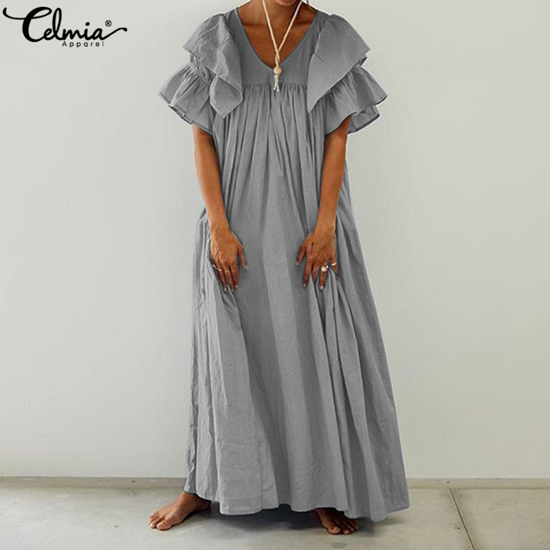 Plus Size Women Vintage Long Shirt Dress 2020 Celmia Casual V-neck Ruffle Sleeve Party Maxi Dress Pleated Summer Beach Vestidos