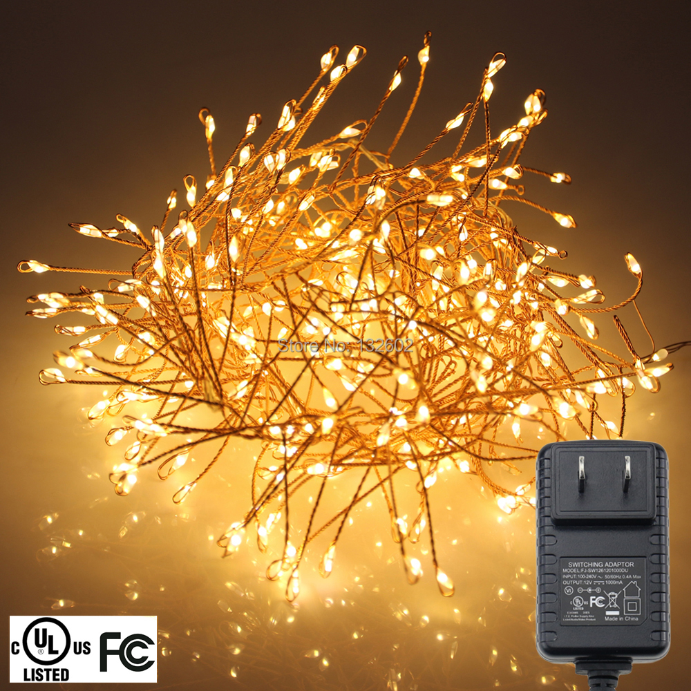 1.25M 400LED String Lights, Warm White Copper Wire Christmas Indoor Starry Fairy Lights + UL CE Power Adapter(US,UK,EU)