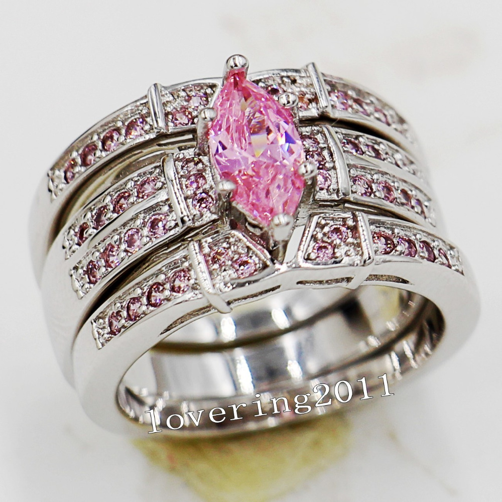 choucong Engagement Marquise Cut Pink stone 5A Zircon stone 14KT White Gold  Filled 3 Wedding Band Ring Set Sz 5-11