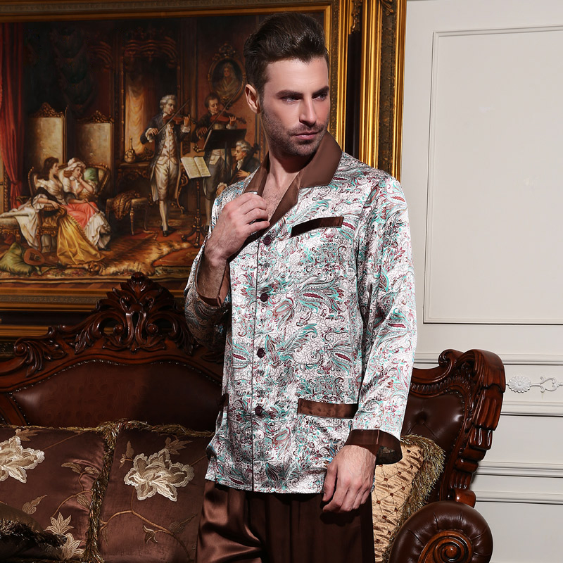100% чистый шелк пижамы мужские Пижамы 2019 новый модный принт натуральный шелк с длинным рукавом пижамы наборы из двух частей Топы + брюки 1233