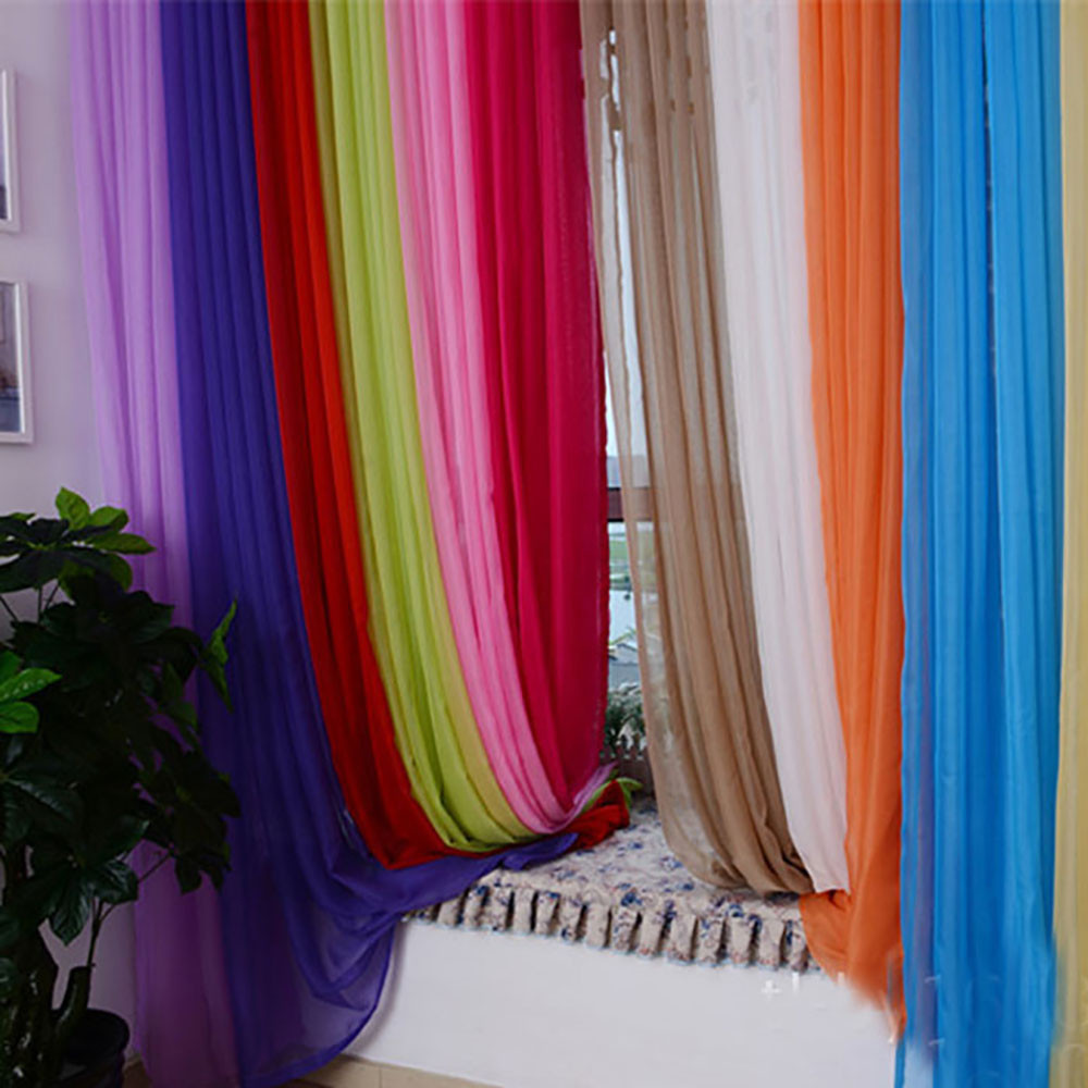 1 PCS Modern Pure Color Tulle Curtain For Living Room Purple Curtains For Children Bedroom Door