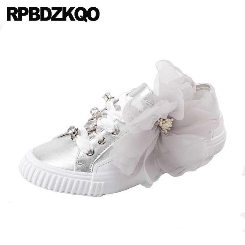 f42c23c1839 Crystal Rhinestone Diamond Trainers Flats Women Genuine Leather Luxury White  Sneakers Designer Shoes China Silver Lace