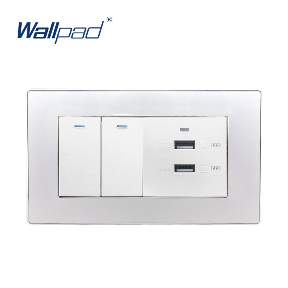 2 Gang 2 Way And 2 USB Socket USB Fast Charger Wallpad Luxury Wall Light Switch Acrylic Panel For Iphone Android 6*3