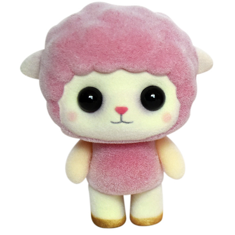 Pink cute mini sheep flocking dolls novelty funny home decorations plush toys figure children best Christmas gifts 5.5*3.5*7cm