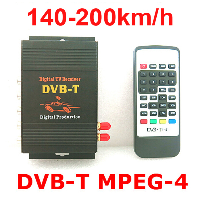 DVB-T Car 140-200km/h HD MPEG-4 Two Chip Tuner Two Antenna DVB T Car Digital TV Tuner Receiver SET TOP BOX 10pcs lot oem syta dvb t car set top box high definition digital media player twin tuners special design for car