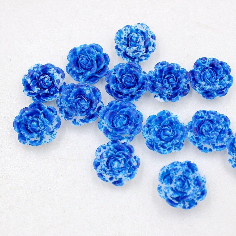 New 14mm 12pcslot Double Color( Blue+White) Resin Rose Flower Flatback Stone Appliques For PhoneCrafts DIY