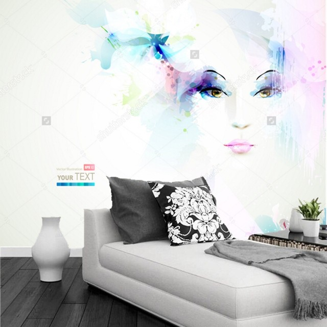 Custom Modern Wallpaperwomen Face With Flowers3D Photo Mural For Living Room Clothing Store Barber Shop Wall Papel De Parede