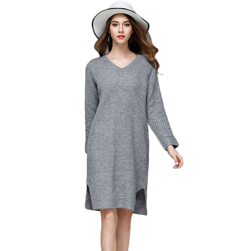 Women Split Hem Knitted Sweater Dress V-Neck Knee-Length Loose Casual Long Sleeve Desses Size Plus Pullover Pull Bottoming Shirt