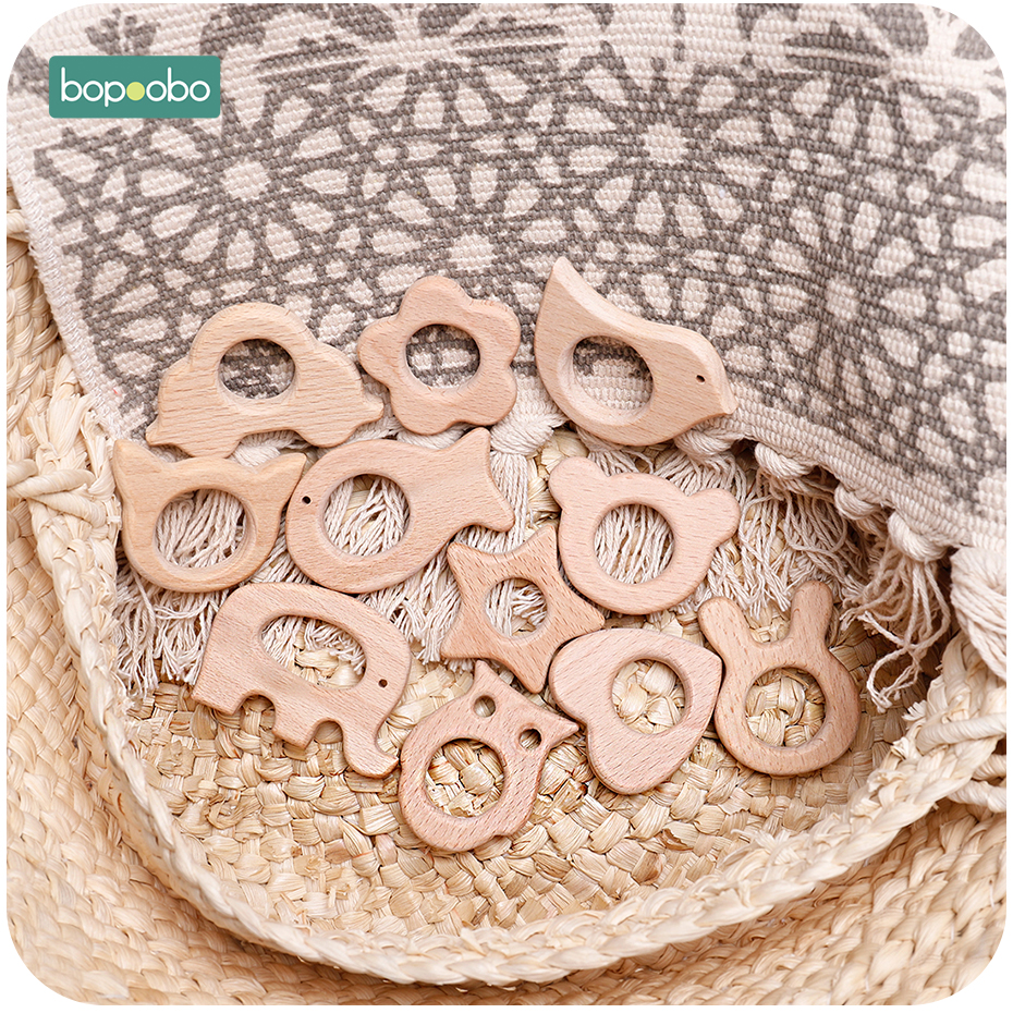 Bopoobo 20pc Baby Rattles Beech Wooden Animal Teether Bracelet Toys For Newborns Baby Montessori Gym Toys Wooden Peandant