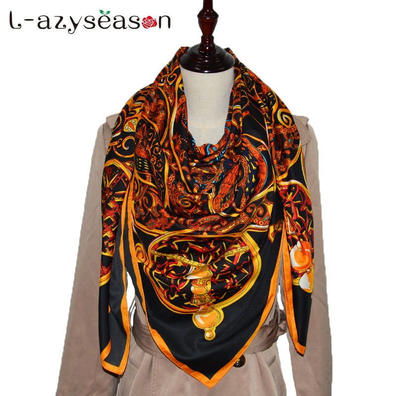 2018 bandana women hijab silk   scarf   Indian print Large Square   Scarves   New Female Elegant Fashion Shawl   Wraps   size 130X130 CM