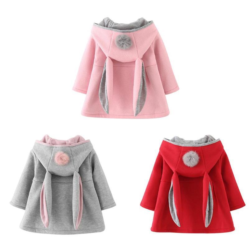 2019 Winter Baby Outwear Cartoon Kaninchen Ohr Hoodie Casual Oberbekleidung Autumnspring Baby Mädchen Langarm Mantel Jacke Requisiten