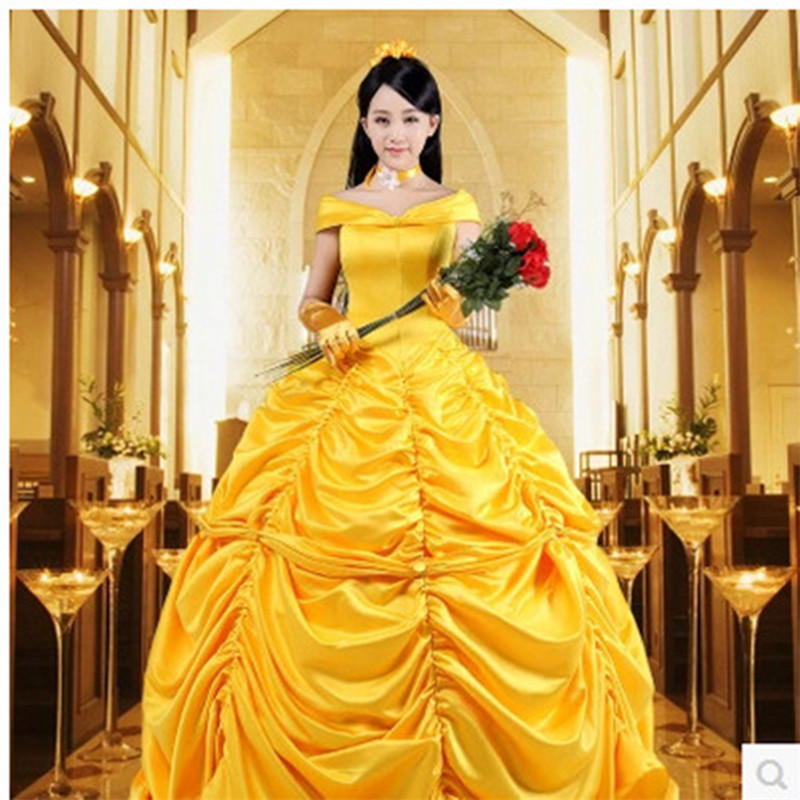 beauty and the beast belle cosplay costume, princess clothing role-playing dress