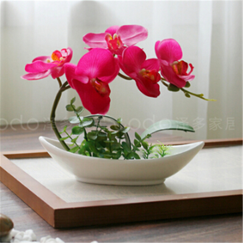 Artificial Flower Phalaenopsis With Ceramic Pot Silk Orchid
