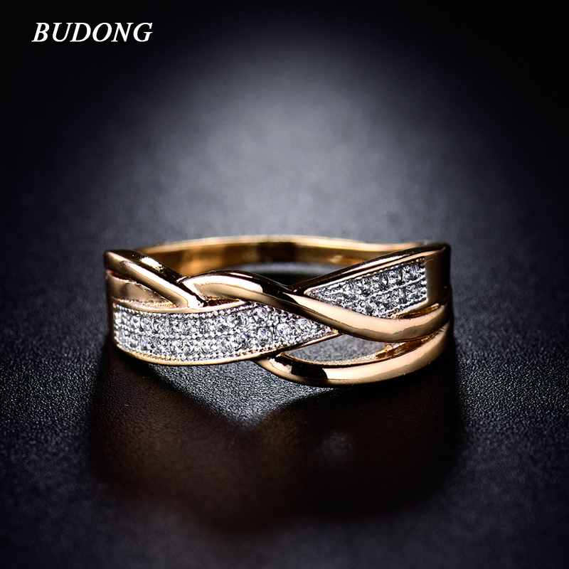 BUDONG הווה ולנטיין ספירלת אופנה CZ קריסטל טבעות לנשים זהב צבע אמצע טבעת מעוקב Zirconia הבטחת תכשיטי xuR247
