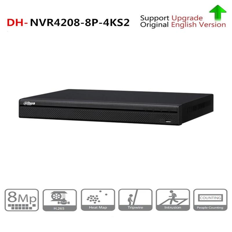 Güvenlik ve Koruma'ten Gözetleme Video Kaydedici'de DH NVR4208 8P 4KS2 8 kanal 1U 8PoE 4K ve H.265 Lite ağ Video kaydedici 4K çözünürlük IP kamera güvenlik CCTV sistemi title=