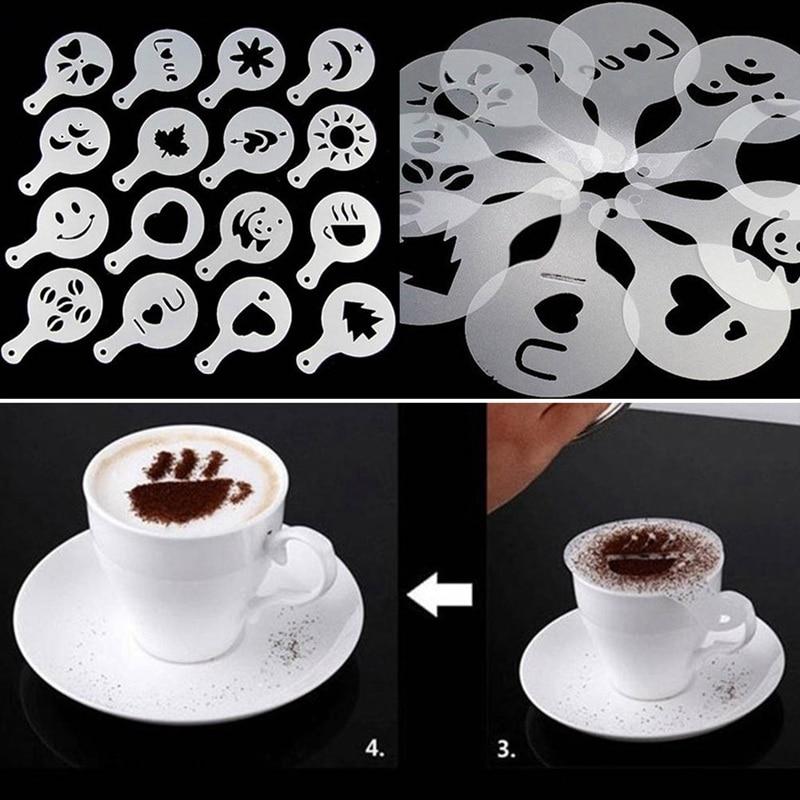 16 Pcs Coffee Stencil Filter Coffee Maker Cappuccino