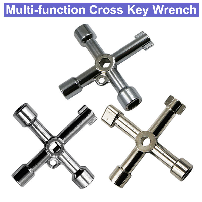 Multifunctional Marine Tools Key Universal Control Cabinet Key Torque Wrenches Cross Key with 11 in 1 CNC Key Train Door Key. Silver
