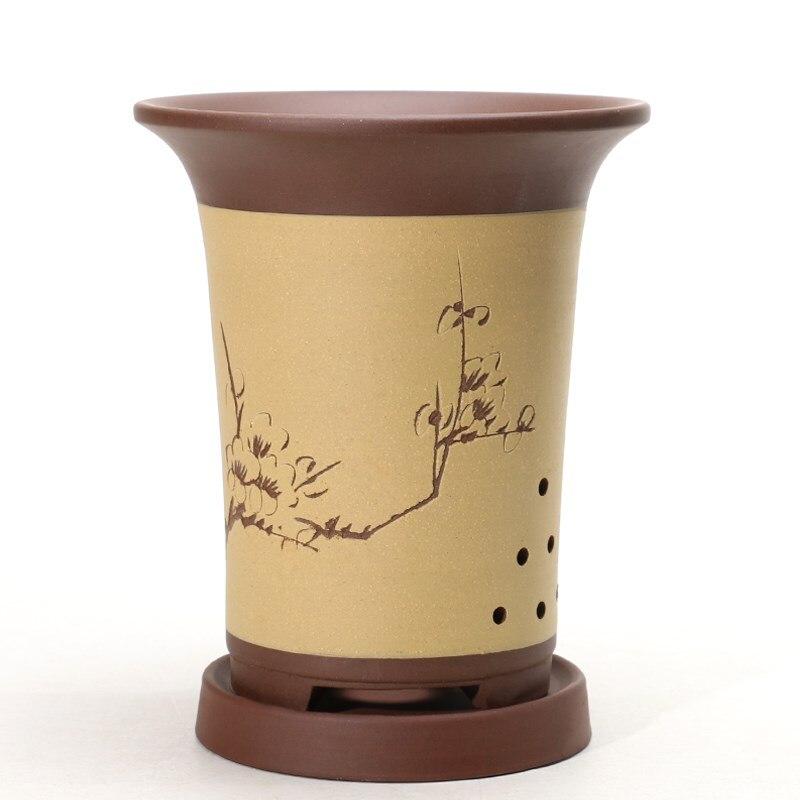 Yiixng violet argile vert plante Pot Style classique en céramique pot de fleur orchidée bonsaï balcon intérieur succulent Pot avec plateau