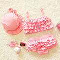 2016 Summer Children's Baby Bikini Girls Cute Swimwear Kids Infant Lovely Princess Two Pieces Swimsuit With Swim Cap 0-9Y