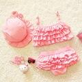 2016 Summer Children's Baby Bikini Girls Cute Swimwear Kids Infant Lovely Princess Two Pieces Swimsuit With Swim Cap 0-9Y