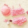 2016 crianças de verão bebê meninas de biquíni crianças Swimwear bonito infantil linda princesa duas peças maiô com touca de natação 0-9Y