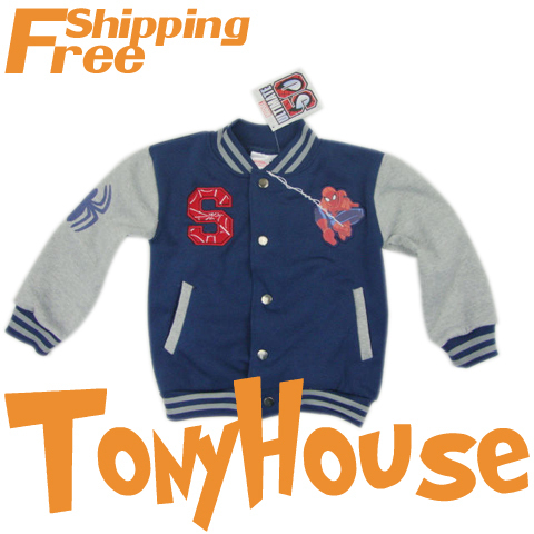 Retail Promotion  2012 Brand New Design Children Boys Cartoon Spiderman Long sleeve Jacket/outwear Kids Clothes Free Shipping