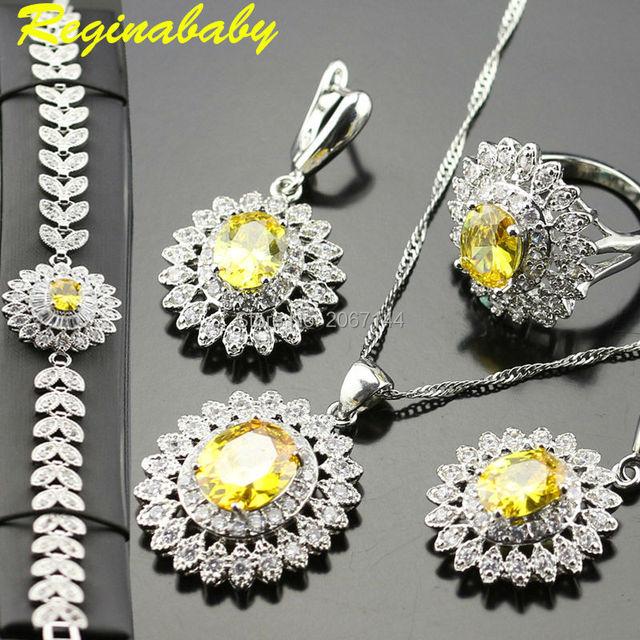 Jewelry Set For Women 925 Logo Silver Color Bracelet/Rings/Earrings/Necklace/Pen