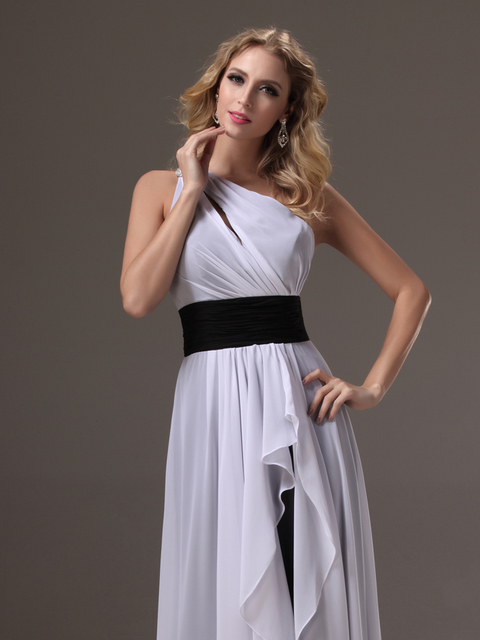 Black And White Long One Shoulder Bridesmaid Dresses With Straps