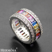 Hermosa Jewelry Rainbow Topaz Garnet Amethyst Citrine Mulit Gemstones 925 Sterling Silver Ring 6 7 8
