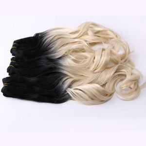 Image 3 - REYNA Sew in hair Ombre two tone Wavy synthetic hair extension weave 100% heat resistant Hair bundle