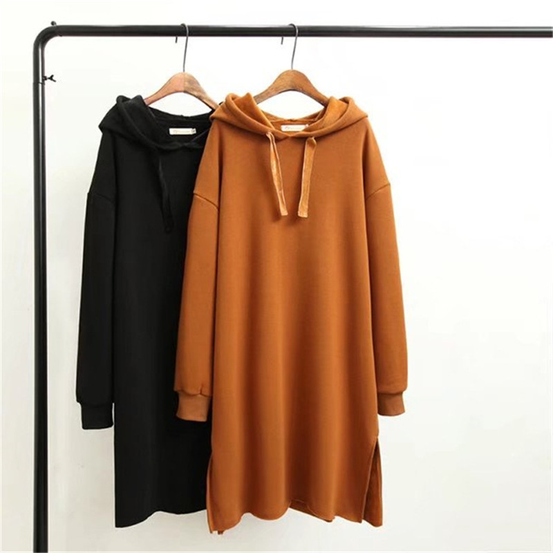 2019 Winter New Women Hoodies Sweatshirt Long Solid Velvet Sweatshirt Dress Warm Loose Sweatshirt Female Tops