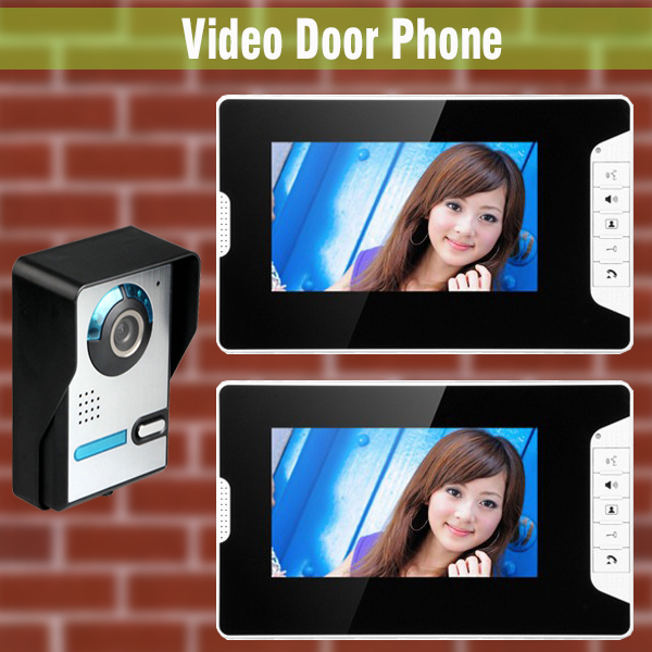 Wired Video Intercom Doorbell System 7 Inch LCD Monitor Video Door Phone Doorbell System Video Interphone Kit 2-Monitor