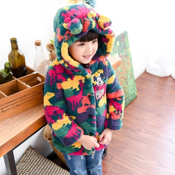 2017 autumn and winter new girls thicken velvet camouflage coat jacket baby girl wool Outwear Children's 2-7 year clothing