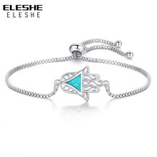 ELESHE 2018 New Fashion Bracelets Adjustable Jewelry Blue Opal Geometric Triangle & Hamsa Hand Charm Bracelet for Women Lady(China)