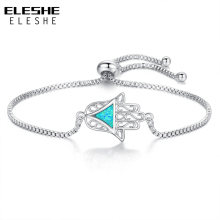 ELESHE New Fashion Bracelets Adjustable Jewelry Blue Opal Geometric Triangle & Hamsa Hand Charm Bracelet for Women Lady(China)