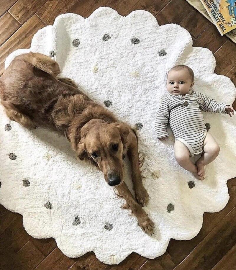 Ins nordique Dot ondulé doux coton bébé jouer tapis préscolaire pépinière tapis photographique Studio fond tapis décoration de la maison tapis