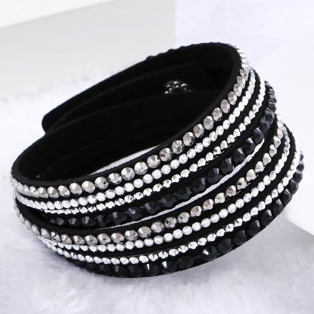 Hot Sale 2016 NEW  Fashion Rhinestone Leather Wrap Bracelet Crystal Multilayer Bracelets bangles for Women/Men Free Shipping