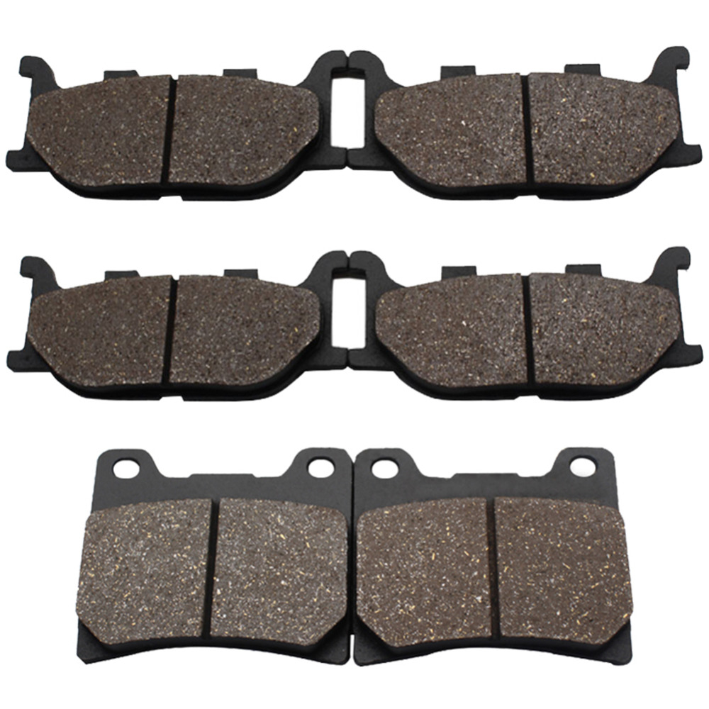 Cyleto Motorcycle 3 Pairs Front and Rear Brake Pads for Yamaha XVS1100 Dragstar 1999-2004 XVS 1100 A Dragstar Classic 2000-2007