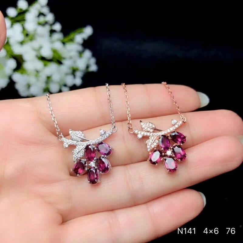 Fine Jewelry Shilovem 925 Sterling Silver Natural Magnalium Garnet Pendants Fine Jewelry Women Wedding Wholesale 4*6mm Bz0406099agsm Attractive Appearance Pendants