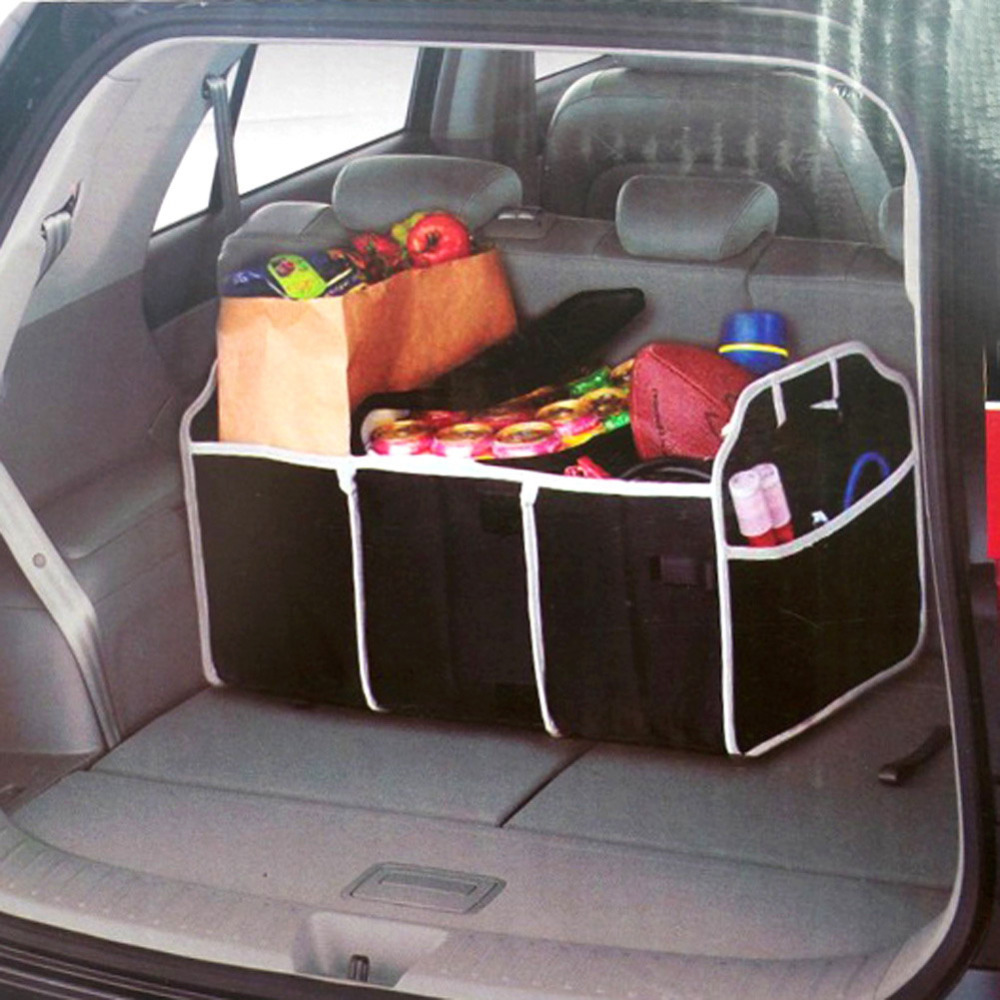 1PCS Collapsible Black Car Non-Woven Organizer Toys Food Storage Container Bags Box Car Stowing Styling Auto Accessories