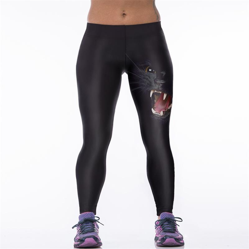 4XLHarajuku Women Workout Legging 3D Black Cat Printed Leggins Patchwork Fitness Legins High Waist   Pants     Capris