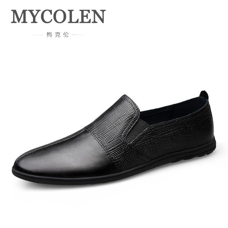 MYCOLEN 2018 Men Genuine Shoes Fashion Slip On Shoes For Leather Men Loafers Luxury Brand Men Shoes Mens Loafers Leather loafers mens shoes luxury brand moccasin men flats shoes slip on leather shoes for men loafers zapatos hombre