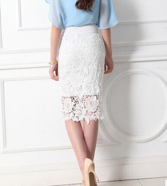 Women Lace Skirts Female Black Vintage Formal Ladies pencil skirt High Waist Bodycon Skirt