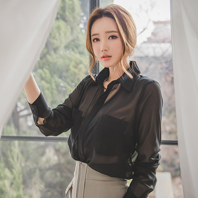 New Full Sleeve Women Tops Black Transparent Women Blouses Chiffon Sexy Loose Womens Clothing Peter Pan Collar Shirt