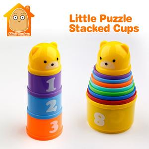 8PCS Educational Baby Toys 6 Month+ Figures Letters Foldind Stack Cup Tower Children Early Intelligence