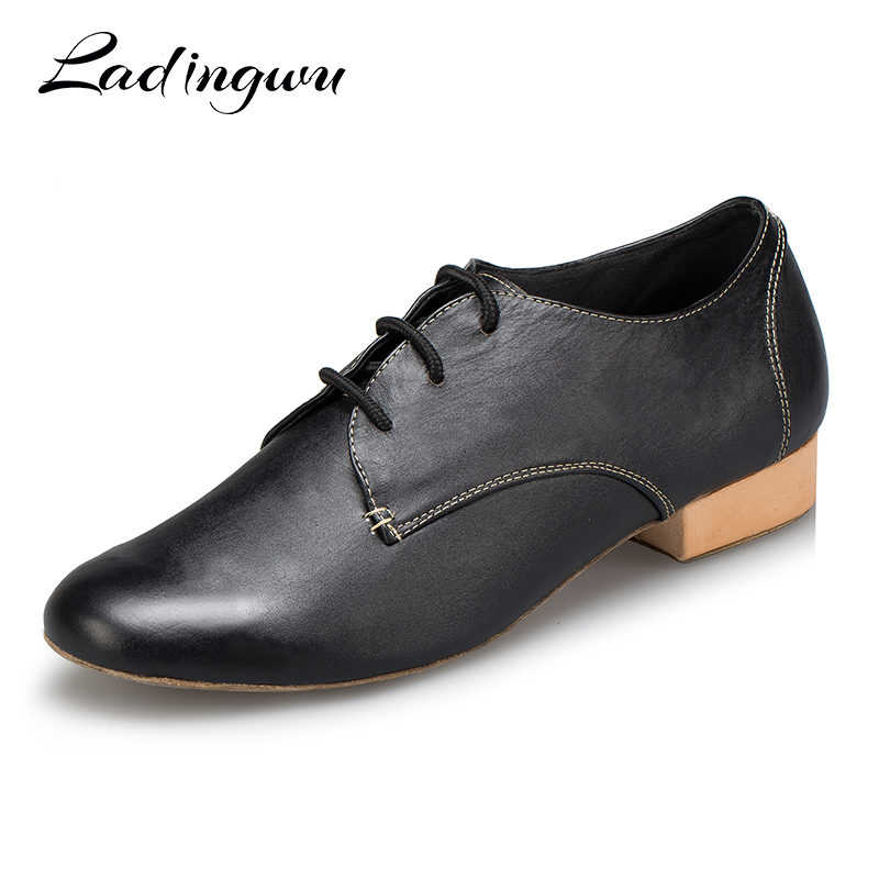 Ladingwu 2018 Salsa Dance Shoes Mens Modern Latin Dance Shoes Ballroom Tango Dancing Shoes Men Black Genuine Leather Heel 2.5cm цены онлайн