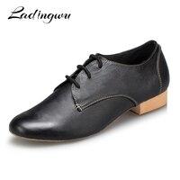 Ladingwu 2018 Salsa Dance Shoes Mens Modern Latin Dance Shoes Ballroom Tango Dancing Shoes Men Black Genuine Leather Heel 2.5cm